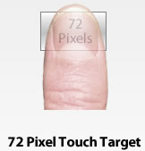 consider design for touch screen fat finger